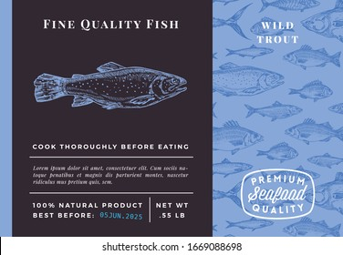 Premium Quality Trout Abstract Vector Packaging Design or Label. Modern Typography and Hand Drawn Sketch Fish Pattern Background Seafood Layout.
