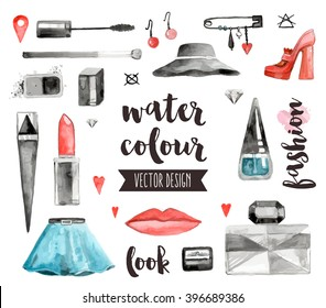 Premium quality watercolor icons set of makeup products, female beauty accessories. Hand drawn realistic vector decoration with text lettering. Flat lay watercolor objects isolated on white background
