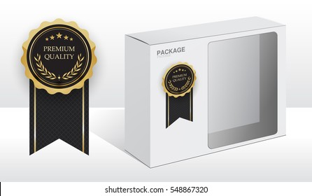 premium quality white package box for software and hardware, vector Illustration