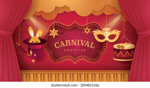 Premium Red and Gold Curtains stage with Circus Frame Border, Cloud and Hanging Carnival Mask, Drum, Rabbit in Magic hat and magic wand, Fun Fair, Theme festival, Paper art vector and illustration