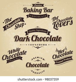 Premium Retro Chocolate Vintage And Label Set