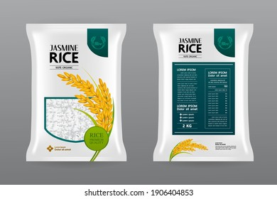 Premium Rice Product Package Mockup vector illustration