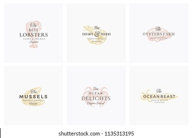 Premium Seafood Abstract Vector Signs, Symbols or Logo Templates Set. Elegant Hand Drawn Shrimp, Mussel, Oyster, Crab and Squid Sketches with Classy Retro Typography. Vintage Luxury Emblems. Isolated.
