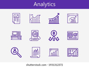 Premium set of analytics line icons. Simple analytics icon pack. Stroke vector illustration on a white background. Modern outline style icons collection of Line chart