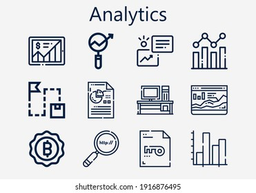 Premium set of analytics [S] icons. Simple analytics icon pack. Stroke vector illustration on a white background. Modern outline style icons collection of Keyword, Analysis, Bitcoin, Search engine