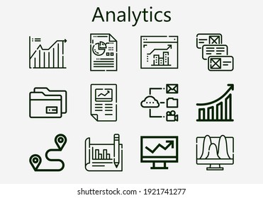 Premium set of analytics [S] icons. Simple analytics icon pack. Stroke vector illustration on a white background. Modern outline style icons collection of Line chart, Data, Performance, Analytics