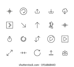 Premium set of arrow line icons. Web symbols for web sites and mobile app. Modern vector symbols, isolated on a white background. Simple thin line signs.