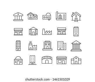 Premium set of buildings line icons. Web symbols for web sites and mobile app. Modern vector symbols, isolated on a white background. Simple thin line signs.