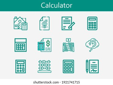 Premium set of calculator line icons. Simple calculator icon pack. Stroke vector illustration on a white background. Modern outline style icons collection of Retrocognition, Calculator, Calculate