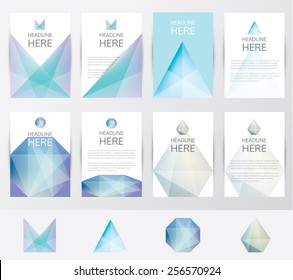 premium set collection of brochure covers and letterhead template mockups with trendy soft mesh blur facet crystal gem design pattern and logo elements- for business visual identity- polygon style