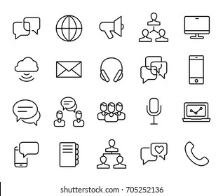 Premium set of communication line icons. Simple pictograms pack. Stroke vector illustration on a white background. Modern outline style icons collection.