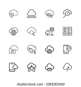 Collection 9 Cloud Computing Outline Icons Stock Vector (Royalty