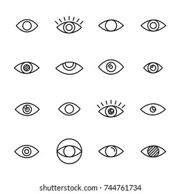 Premium set of eye line icons. Simple pictograms pack. Stroke vector illustration on a white background. Modern outline style icons collection.