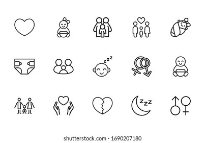 Premium set of Family line icons. Web symbols for web sites and mobile app. Modern vector symbols, isolated on a white background. Simple thin line signs.