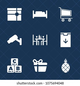 Premium set with fill icons. Such as ribbon, fresh, furniture, play, white, bow, market, kid, interior, present, purchase, shop, toy, safety, sign, gift, double, pineapple, food, childhood, house, box
