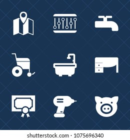 Premium set with fill icons. Such as music, drill, bathroom, travel, waveform, office, swine, gps, construction, map, wheelchair, award, work, business, pig, disabled, animal, location, navigation