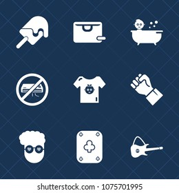 Premium set with fill icons. Such as people, human, kid, food, retro, poker, vanilla, no, bag, play, fashion, ice, concept, store, guitar, style, musical, baby, strawberry, music, summer, graphic,