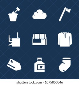 Premium set with fill icons. Such as warm, grocery, fashion, outdoor, market, table, food, discount, office, play, socks, mouth, mouthwash, web, sandbox, care, hammer, winter, fun, store, price, tag
