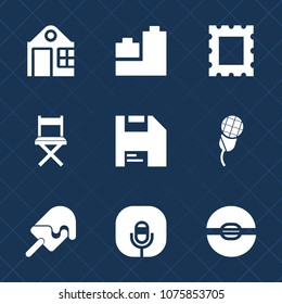 Premium set with fill icons. Such as building, child, radio, car, architecture, toy, computer, picture, pattern, construction, ice, decoration, audio, diskette, concept, art, play, sweet, chair, sign