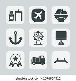 Premium set of fill icons. Such as park, travel, equipment, airplane, anchor, pull, scanner, rice, xray, diagnostic, wheel, aircraft, health, place, agriculture, carousel, asian, raw, award, medical