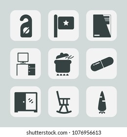 Premium set of fill icons. Such as interior, table, dish, medicine, medical, carrot, flag, computer, privacy, nation, america, dinner, pot, fresh, room, file, document, desk, national, business, label