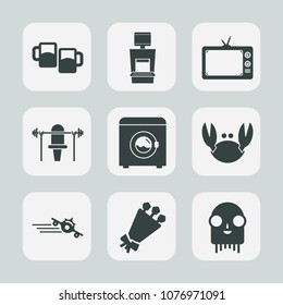 Premium set of fill icons. Such as medical, wash, ufo, screen, plane, diagnostic, pub, mug, airplane, alien, travel, scan, xray, beautiful, health, monster, flight, equipment, departure, lager, tv
