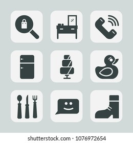 Premium set of fill icons. Such as female, call, face, room, searching, footwear, clothes, sweet, fridge, refrigerator, phone, interior, cabinet, kitchen, sign, play, boot, fork, child, home, wood