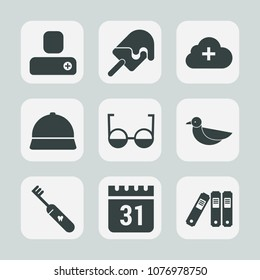Premium set of fill icons. Such as summer, health, sky, person, cloud, brush, folder, day, upload, calendar, hat, eyeglasses, strawberry, ice, white, eye, time, human, cream, animal, nature, timetable