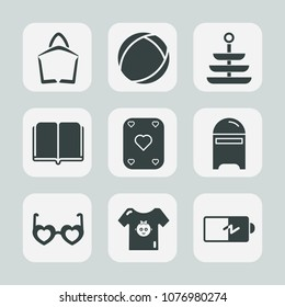 Premium set of fill icons. Such as dinner, envelope, meal, background, food, mail, game, bag, store, letter, play, poker, kitchen, energy, book, plate, post, child, sunglasses, baby, sphere, mailbox,
