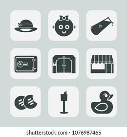 Premium set of fill icons. Such as cute, snack, food, hat, element, baby, girl, restaurant, happy, grocery, play, kid, market, supermarket, people, elevator, holder, cookie, safe, boy, wine, finance