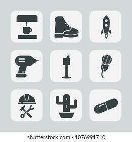 Premium set of fill icons. Such as green, medicine, mic, coffee, pill, rocket, medical, nature, boot, industry, karaoke, drink, holder, plant, helmet, black, wine, music, foreman, restaurant, desert
