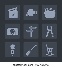 Premium set of fill icons. Such as karaoke, office, knife, furniture, cook, direction, pasta, banner, repair, play, duck, tool, toy, song, child, food, industrial, bear, car, reparation, cooking, fire