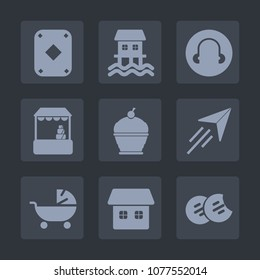 Premium set of fill icons. Such as boat, flight, food, pie, card, casino, child, plane, stroller, buy, customer, cake, paper, poker, houseboat, supermarket, cart, white, cookie, game, travel, store