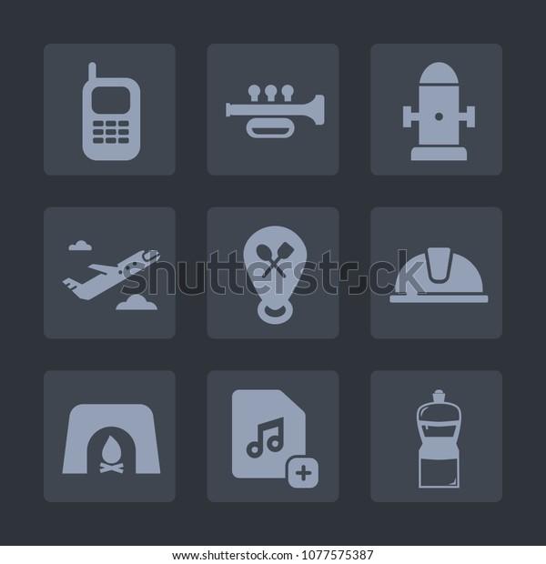 Premium Set Fill Icons Such Helmet Stock Vector (Royalty