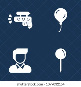 Premium set of fill vector icons. Such as helium, game, navigation, bright, pointer, playful, pistol, water, child, happy, drop, celebration, squirt, sign, fun, spray, guy, holiday, toy, white, pin