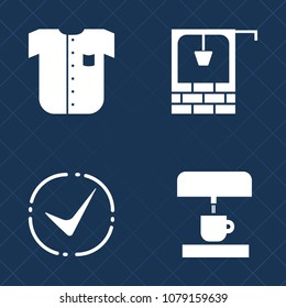 Premium set of fill vector icons. Such as correct, kitchen, old, cotton, coffee, ok, folded, country, village, yes, well, male, water, textile, choice, cup, traditional, mark, brick, sign, rural, new
