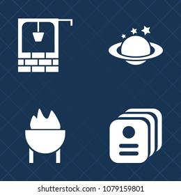 Premium set of fill vector icons. Such as sausage, card, well, food, outdoors, stone, business, blue, grill, water, old, antique, name, rural, astronomy, hot, country, planet, cooking, wooden, orbit