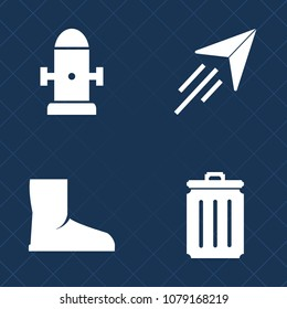 Premium set of fill vector icons. Such as water, street, footwear, trash, city, concept, toy, red, fly, work, garbage, plane, ecology, recycle, bin, air, aviation, fashion, safety, shoe, metal, foot
