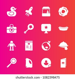 Premium set with fill vector icons. Such as doughnut, machine, shop, food, flight, plane, toy, brush, market, grocery, world, supermarket, duck, add, cooking, sweet, menu, store, utensil, dessert, can