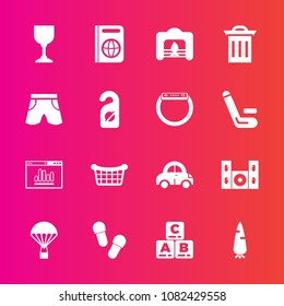 Premium set with fill vector icons. Such as toy, vegetable, tourism, play, transportation, speaker, vehicle, basket, jump, video, carrot, home, alcohol, parachuting, fresh, passport, child, technology