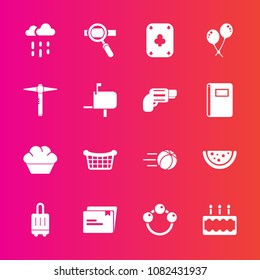 Premium set with fill vector icons. Such as paper, water, child, dessert, cake, pie, technology, ball, celebration, food, doughnut, baggage, rattle, basket, store, luggage, research, laptop, game, bag