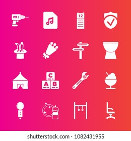 Premium set with fill vector icons. Such as bouquet, sign, spanner, kid, toy, exercise, comfortable, karaoke, tent, interior, reminder, play, blossom, hammer, check, machine, home, voice, floral, note