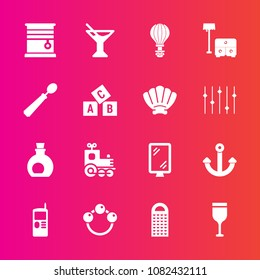 Premium set with fill vector icons. Such as cooking, sign, toy, locomotive, glass, telephone, olive, travel, cell, rattle, baby, grater, transport, wine, mediterranean, parachuting, room, home, summer