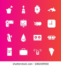 Premium set with fill vector icons. Such as ice, ringing, mask, technology, telephone, animal, refrigerator, kitchen, sand, sea, call, white, music, summer, watch, snorkel, seafood, leather, play, toy