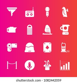 Premium set with fill vector icons. Such as technology, song, play, music, fashion, clothing, game, clean, headwear, drink, filter, karaoke, toy, photo, service, cap, equipment, conditioner, baby, hat