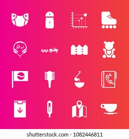 Premium set with fill vector icons. Such as road, newborn, pin, phone, spoon, travel, spice, pepper, internet, business, web, leisure, infant, book, baby, fun, diagram, seasoning, salt, data, hair