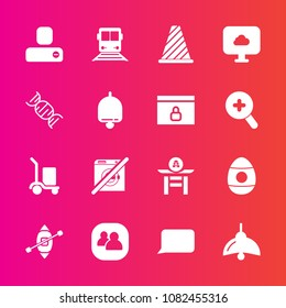 Premium set with fill vector icons. Such as warehouse, team, japanese, traffic, person, cargo, alarm, people, group, package, decoration, call, dont, culture, background, light, wash, easter, bulb