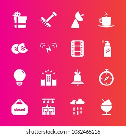 Premium set with fill vector icons. Such as store, alarm, north, package, water, weather, signal, light, compass, bell, gift, antenna, business, food, gardening, sweet, rain, cup, cafe, alert, bow