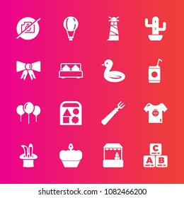 Premium set with fill vector icons. Such as photo, light, fork, sweet, nature, cake, dessert, clothing, bear, play, beacon, ocean, jump, picture, supermarket, child, decoration, no, ball, celebration