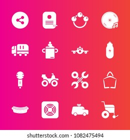 Premium set with fill vector icons. Such as wheelchair, dinner, microphone, media, sound, bag, album, , toy, extreme, button, voice, sausage, play, sign, infant, air, food, hotdog, car, sale, karaoke